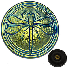 Czech 23mm Metallic Aqua Blue Dragonfly Glass Button
