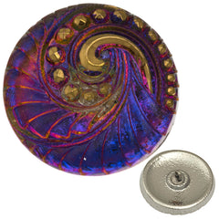 Czech 27mm Radiant Orchid Indian Swirl Glass Button
