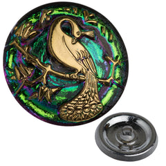 Czech 22mm Green Vitrail Peacock Glass Button