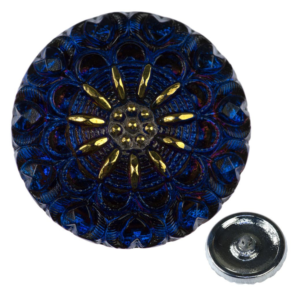Czech 27mm Crown Glass Button Sapphire Purple