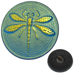Czech 18mm Dragonfly Green Glass Button