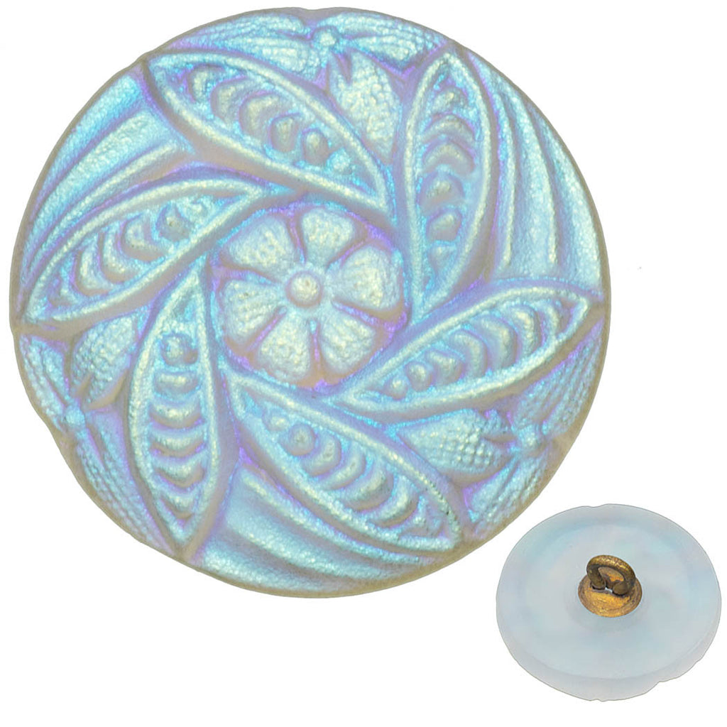 Czech 18mm White Flowers Leaves AB Glass Button
