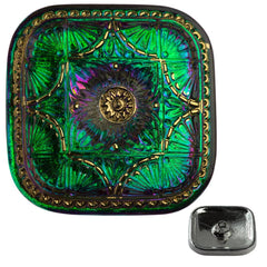 Czech 33mm Square Fan Design Green Vitrail Glass Button