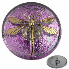 Czech 31mm Pink Lilac Dragonfly Glass Button