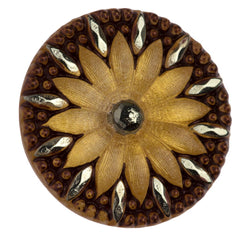 Czech 31mm Gold and Copper Flower Glass Button