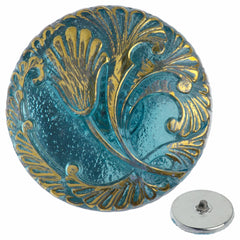 Czech 27mm Aqua and Gold Tulip Glass Button