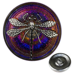 Czech 23mm Dragonfly Glass Button Sapphire Purple