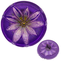 Czech 18mm Lilac Lotus Glass Button