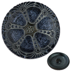 Czech 27mm Silver Wash Light Sapphire Wheel Glass Button