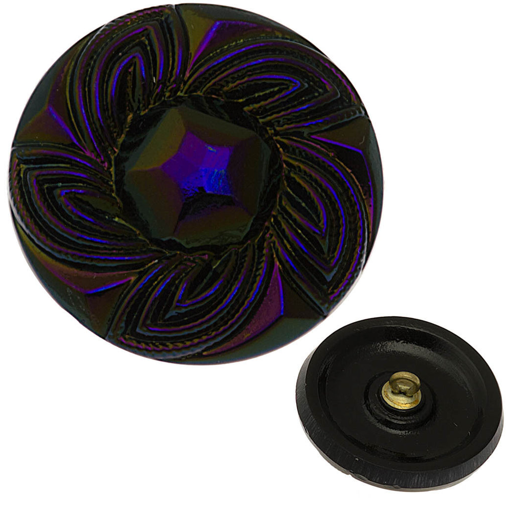 Czech 27mm Blue Star Purple Vitrail Glass Button