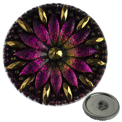 Czech 31mm Purple Vitrail Flower Glass Button