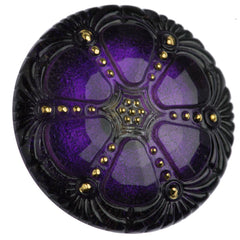 Czech 27mm Purple Wheel Glass Button