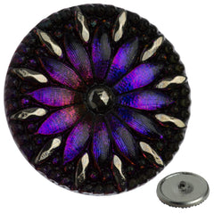 Czech 31mm Purple Sapphire Flower Glass Button