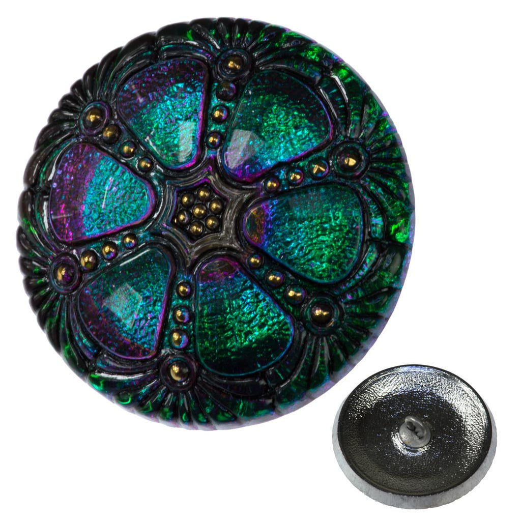 Czech 27mm Wheel Glass Button Emerald Vitrail
