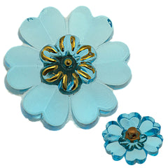 Czech 22mm Aqua Flower Glass Button