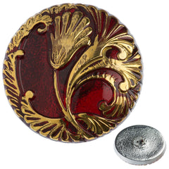 Czech 27mm Red and Gold Tulip Glass Button