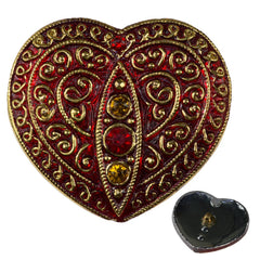 Czech 31x35mm Heart Glass Button Ruby with Four Rhinestones