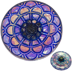 Czech 18mm Shiny Silver Blue Mandala Glass Button