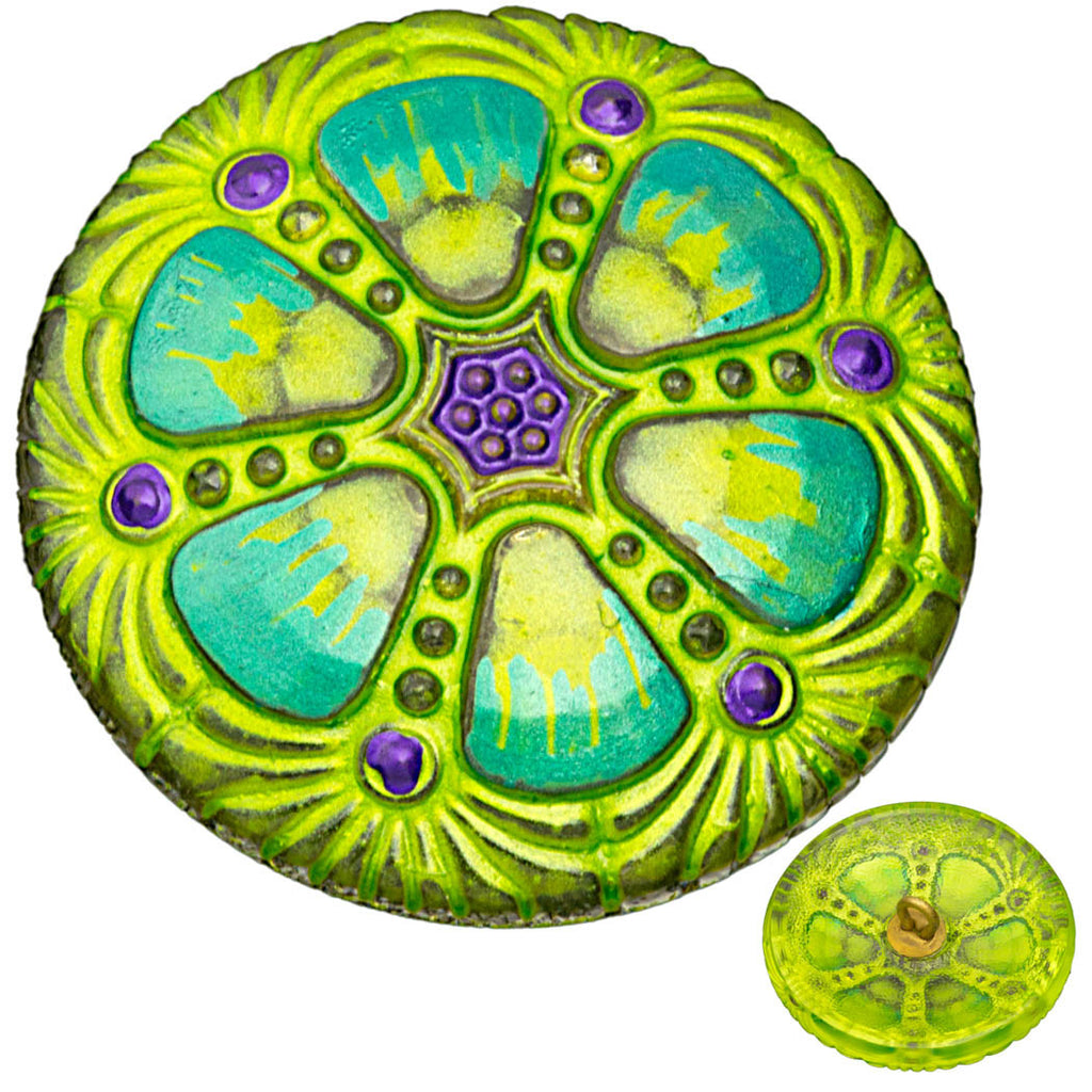 Czech 27mm Crazy Lemon Grass Wheel Glass Button