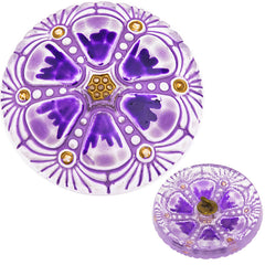 Czech 27mm Radiant Lilac Wheel Glass Button