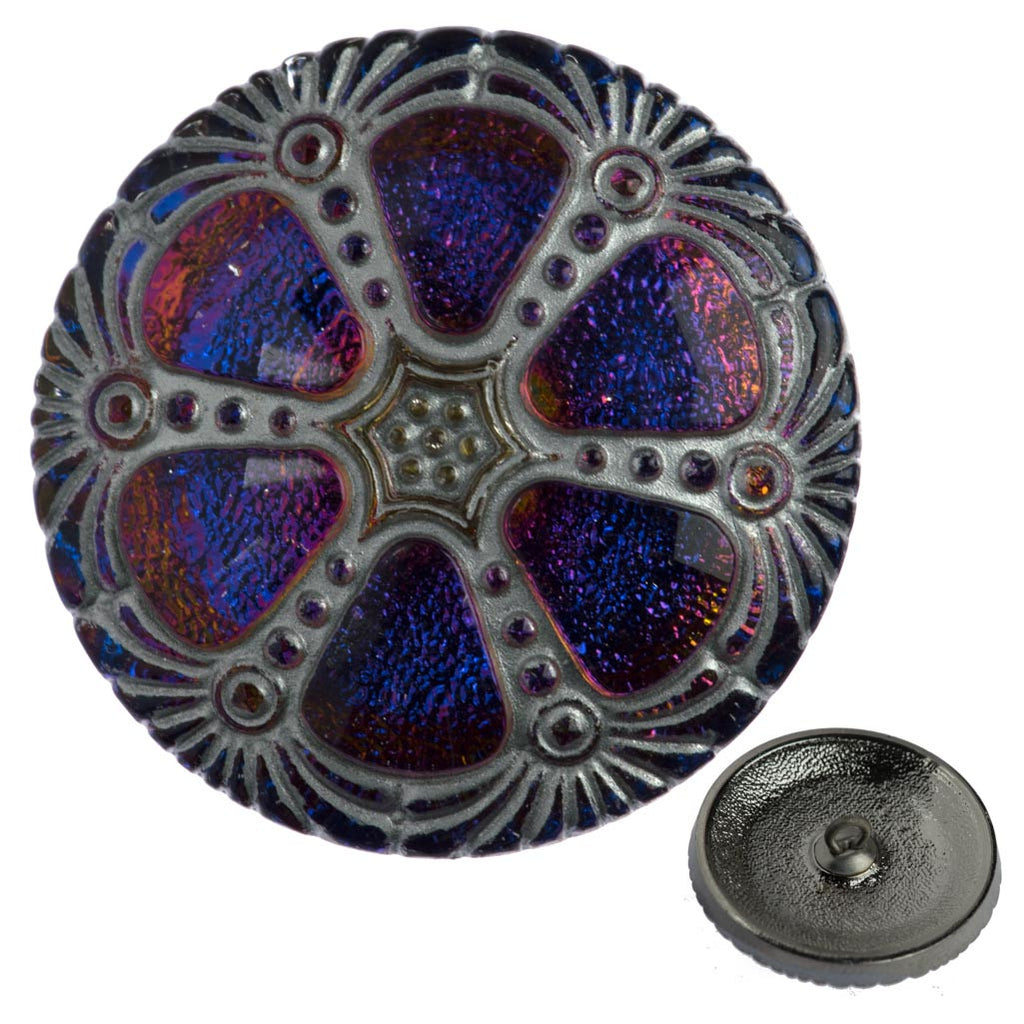 Czech 27mm Silver Wash Sapphire Wheel Glass Button