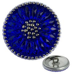 Czech 18mm Cobalt Daisy Glass Button