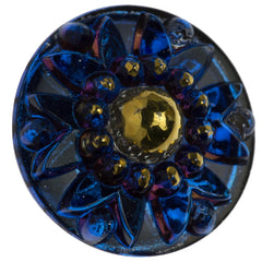 Czech 24mm Sapphire Crown Glass Button