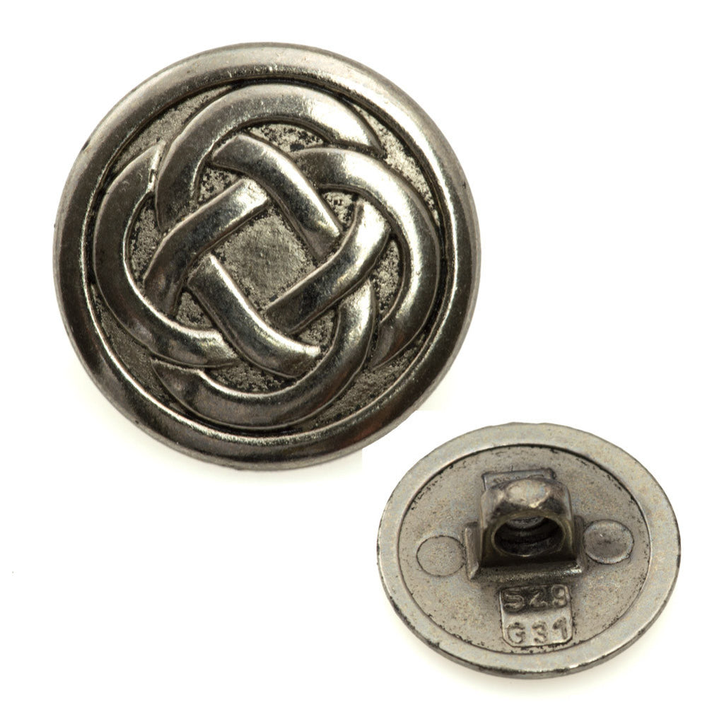 18mm Metal Button Antique Silver Plated Celtic Knot Design