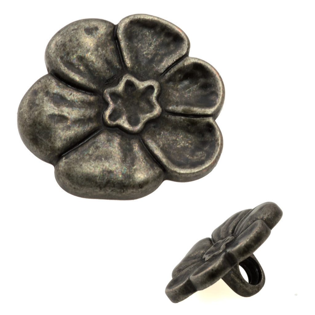 18mm Metal Button Antique Tin Plated Flower Design