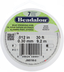 Beadalon 7 Strand White .3mm Beading Wire 30ft-Front