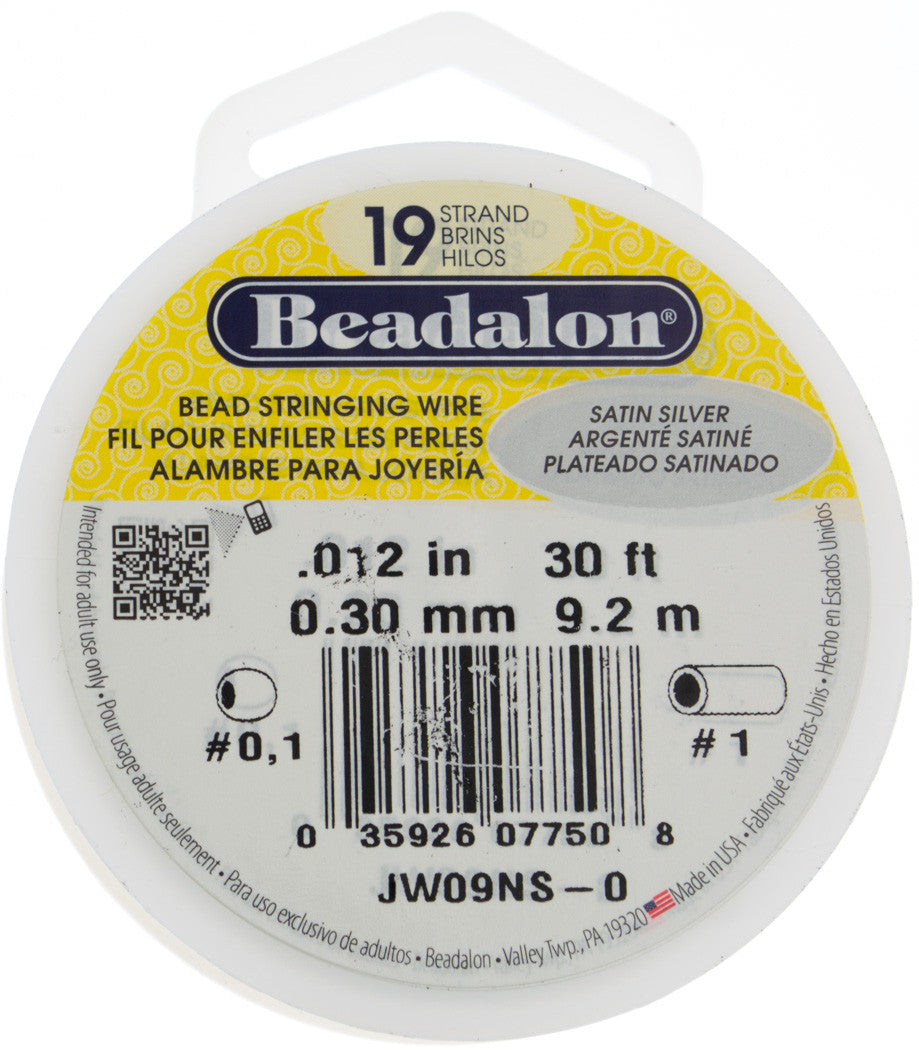 Beadalon 19 Strand Satin Silver .3mm Beading Wire 30ft | Auracrystals