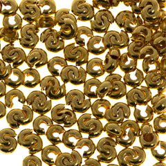Crimp Bead Cover 3mm Gold Plated 1pc