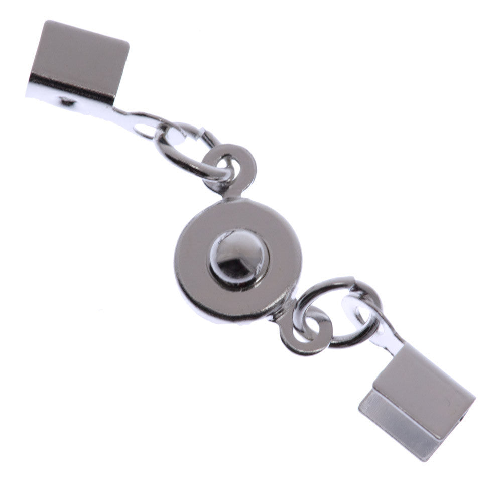 7mm Silver Plated Ball and Socket with Fold Over Crimp Clasp