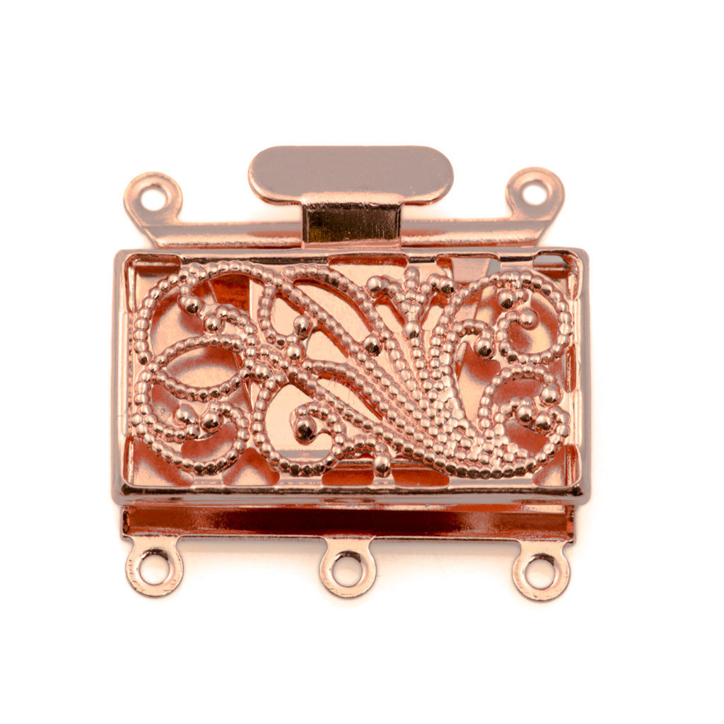 22x16mm Three Strand Copper Plated Swirl Design Push Pull Clasp