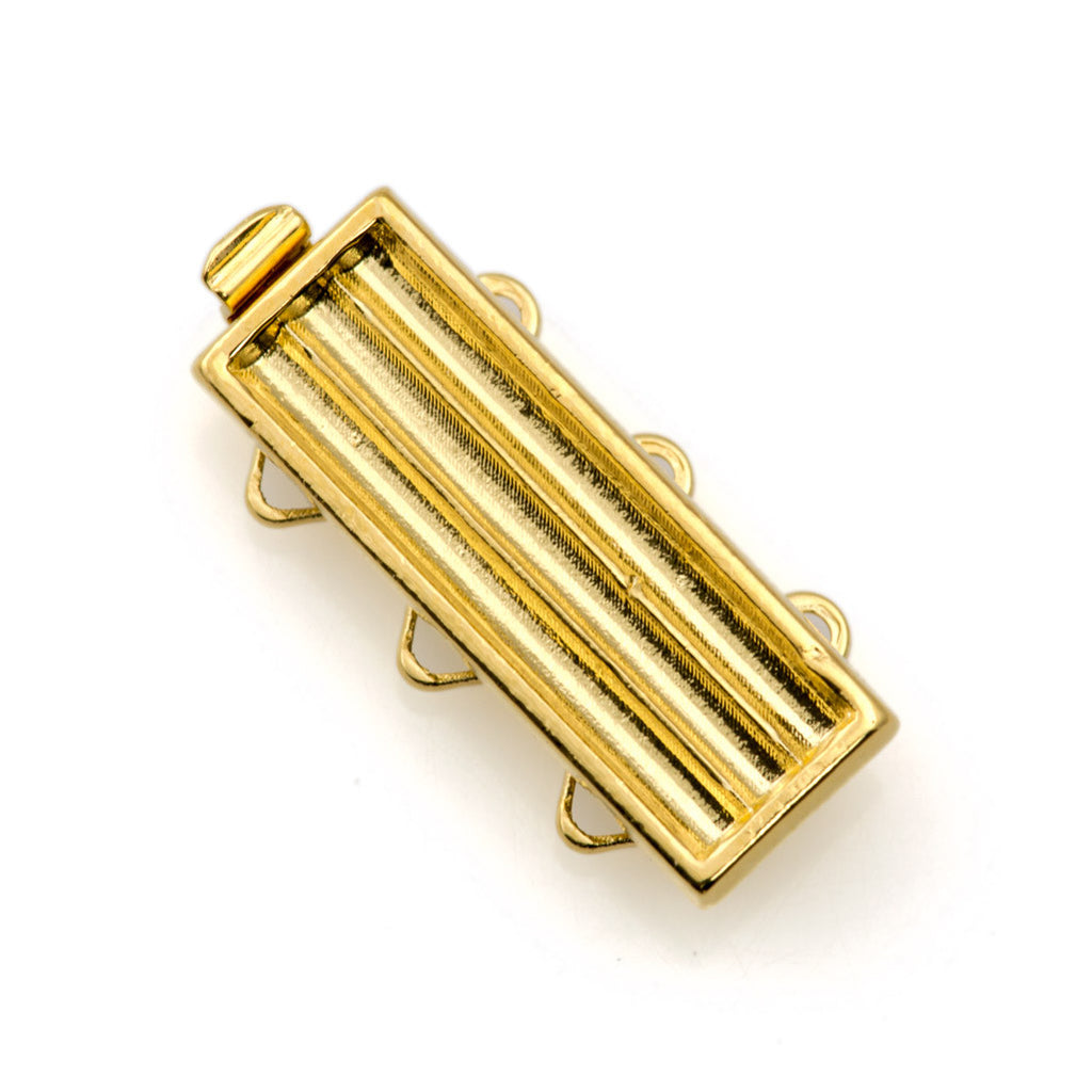 20x7mm Three Strand Delica Gold Plated Clasp