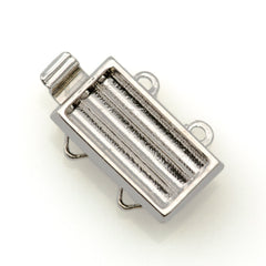 13x7mm Two Strand Delica Silver Plated Clasp