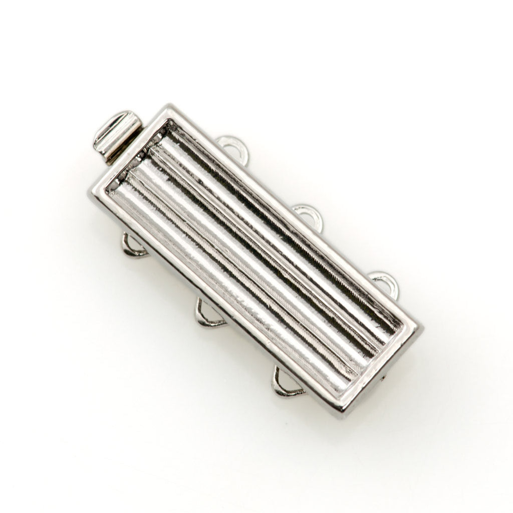 20x7mm Three Strand Delica Silver Plated Clasp