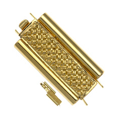 10x24mm Cross Hatch Gold Plated Beadslide Clasp