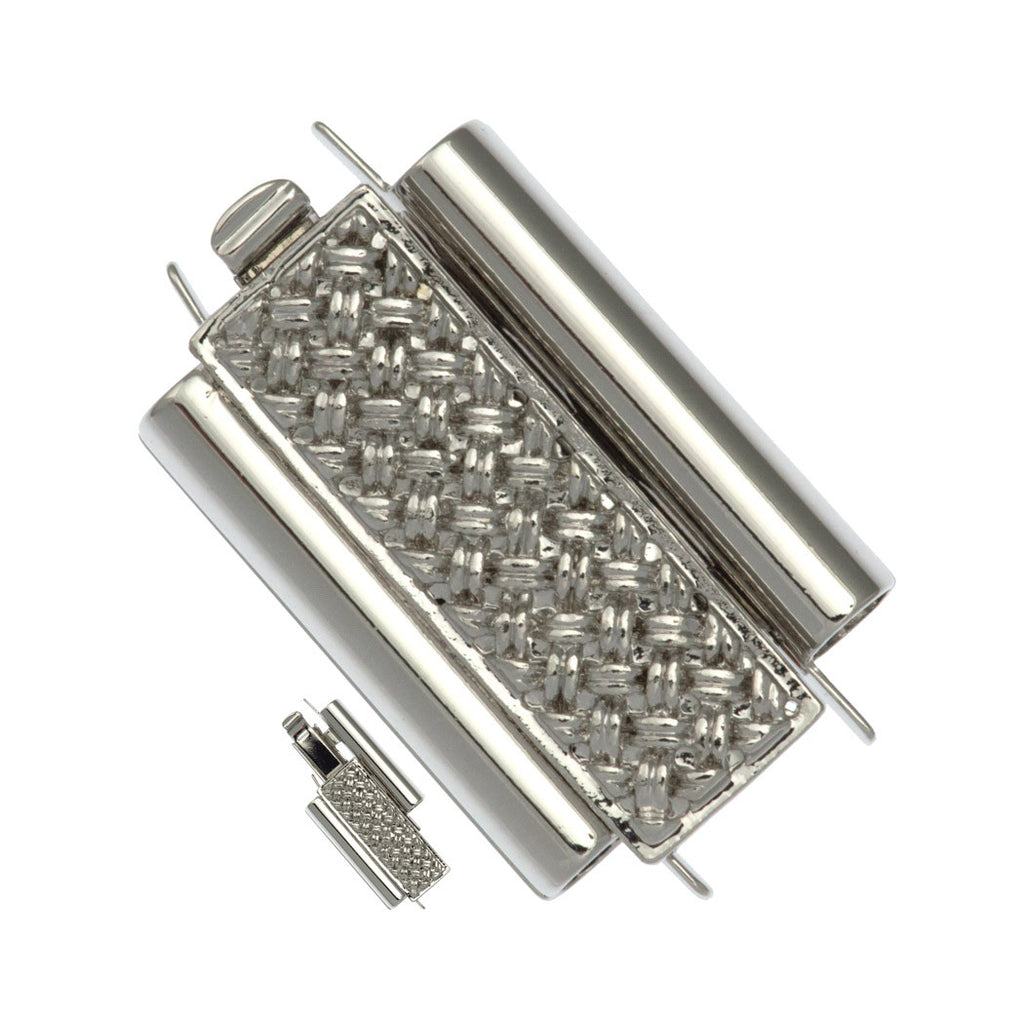 10x18mm Cross Hatch Rhodium Plated Beadslide Clasp