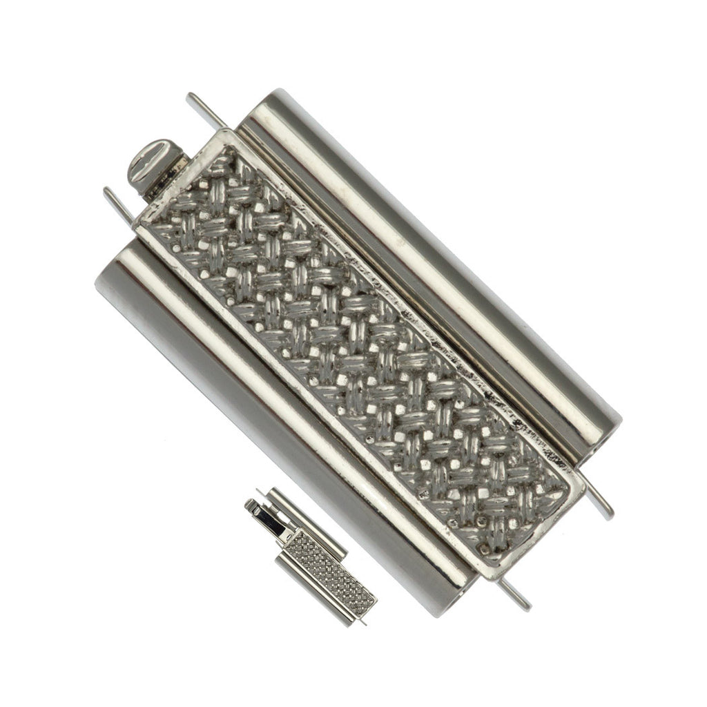 10x24mm Cross Hatch Rhodium Plated Beadslide Clasp