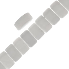 Glass Carrier Bead 9x17mm Two Hole Alabaster White 15pcs (02010)