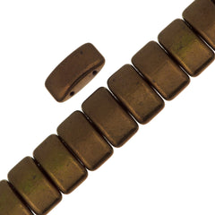 Glass Carrier Bead 9x17mm Two Hole Dark Bronze 15pcs (14415)
