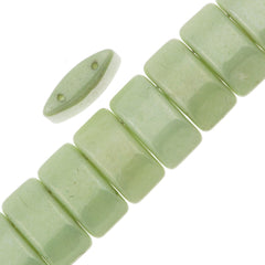 Glass Carrier Bead 9x17mm Two Hole Light Green Luster 15pcs (14457P)