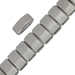 Glass Carrier Bead 9x17mm Two Hole Silver 15pcs (27000)