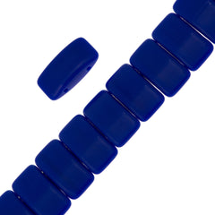 Glass Carrier Bead 9x17mm Two Hole Opaque Blue 15pcs (33050)