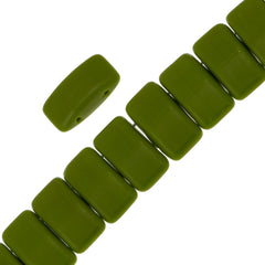 Glass Carrier Bead 9x17mm Two Hole Opaque Green 15pcs (53410)