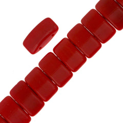 Glass Carrier Bead 9x17mm Two Hole Opaque Cherry Red 15pcs (93190)
