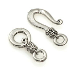 36.5x9.5mm Antique Silver Plated Hook and Eye Clasp