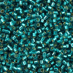 25g Miyuki Delica Seed Bead 11/0 Caribbean Teal Silver Lined DB1208
