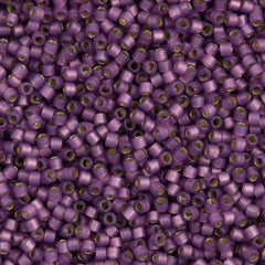25g Miyuki Delica Seed Bead 11/0 Duracoat Dyed Semi-Matte Silver Lined Lilac DB2182